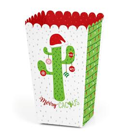 Merry Cactus - Christmas Cactus Party Favor Popcorn Treat Boxes - Set of 12