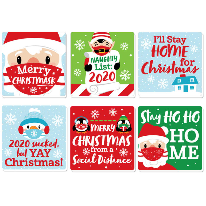Merry Christmask - Funny 2020 Quarantine Christmas Party Decorations - Drink Coasters - Set of 6