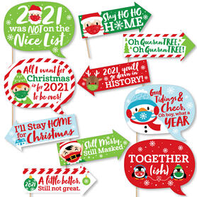 Funny Merry Christmask - 2021 Quarantine Christmas Party Photo Booth Props Kit - 10 Piece