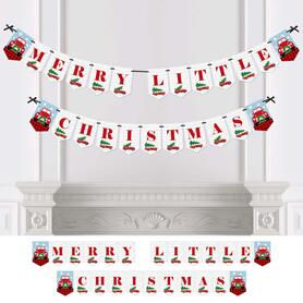Merry Little Christmas Tree -  Red Truck and Car Christmas Party Bunting Banner & Decorations