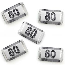 80th Milestone Birthday - Dashingly Aged to Perfection - Mini Candy Bar Wrapper Stickers - Birthday Party Small Favors - 40 Count