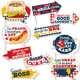 Funny Missed You BBQ - Backyard Summer Picnic Party Photo Booth Props Kit - 10 Piece