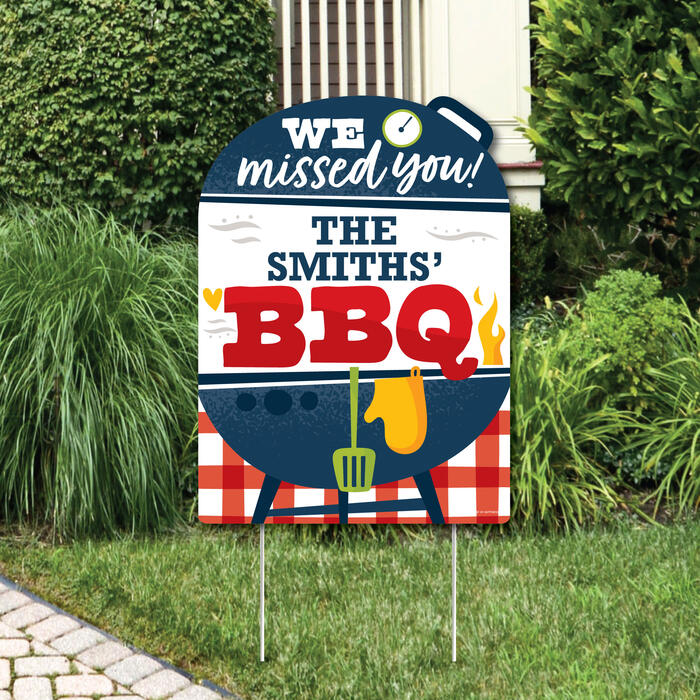 Missed You BBQ - Party Decorations - Backyard Summer Picnic Party Personalized Welcome Yard Sign