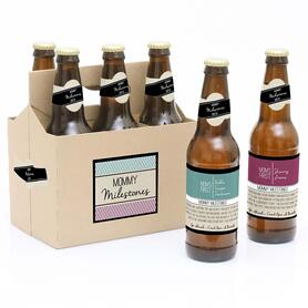 Mommy's First Milestones - Decorations for Women and Men - 6 Beer Bottle Labels and 1 Carrier Gift