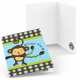 Blue Monkey Boy - Birthday Party Thank You Cards - 8 ct