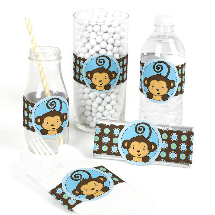 Blue Monkey Boy - DIY Party Wrappers - 15 ct