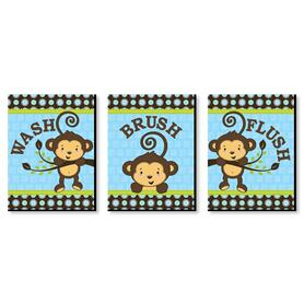 Monkey Boy - Kids Bathroom Rules Wall Art - 7.5 x 10 inches - Set of 3 Signs - Wash, Brush, Flush