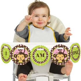 Pink Monkey Girl 1st Birthday - I am One - First Birthday High Chair Banner