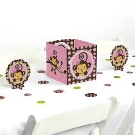 Pink Monkey Girl - Baby Shower or Birthday Party Centerpiece and Table Decoration Kit