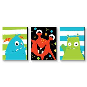 Monster Bash - Nursery Wall Art & Kids Room Decor - 7.5 x 10 inches - Set of 3 Prints