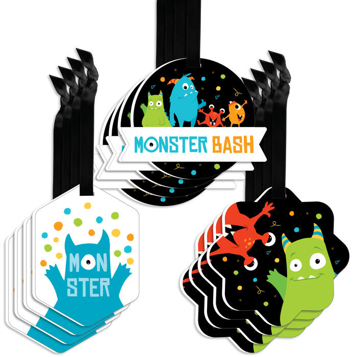 Monster Bash - Assorted Hanging Little Monster Birthday Party or Baby Shower Favor Tags - Gift Tag Toppers - Set of 12