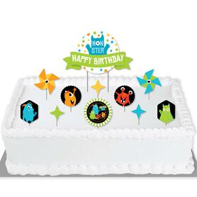 Monster Bash - Little Monster Birthday Party Cake Decorating Kit - Happy Birthday Cake Topper Set - 11 Pieces