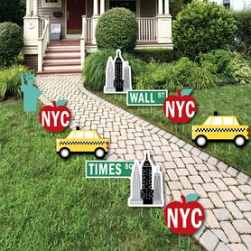 NYC Cityscape - Lawn Decorations - Outdoor New York City Party Yard Decorations - 10 Piece