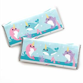 Narwhal Girl -  Candy Bar Wrapper Under The Sea Baby Shower or Birthday Party Favors - Set of 24
