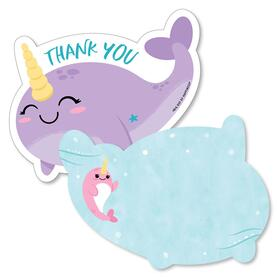 Narwhal Girl - Shaped Thank You Cards - Under The Sea Baby Shower or Birthday Party Thank You Note Cards with Envelopes - Set of 12