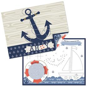 Ahoy - Nautical - Paper Birthday Party Coloring Sheets - Activity Placemats - Set of 16