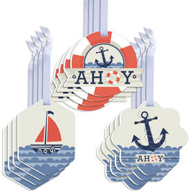 Ahoy - Nautical - Assorted Hanging Baby Shower or Birthday Party Favor Tags - Gift Tag Toppers - Set of 12