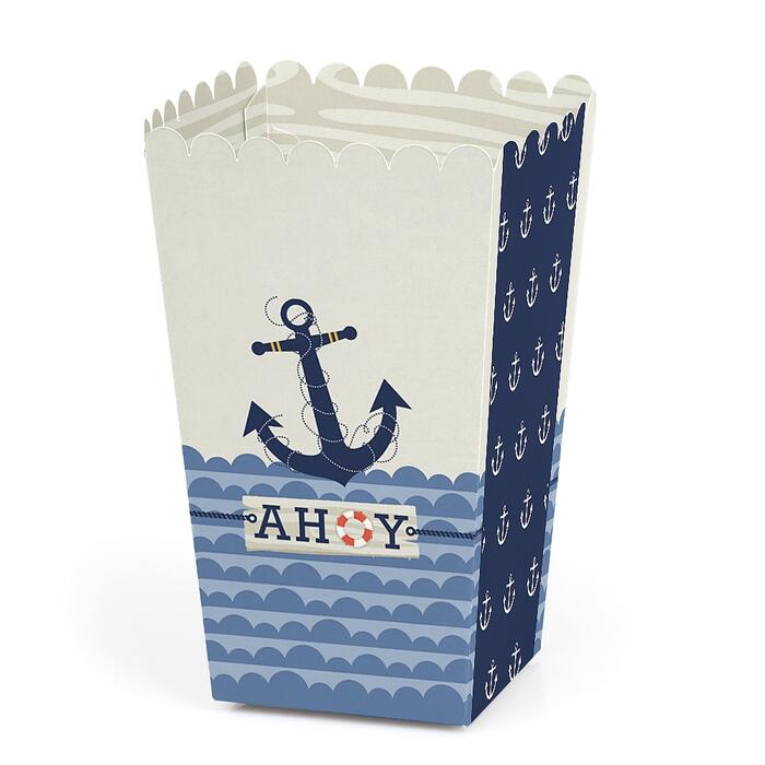 Ahoy - Nautical - Baby Shower or Birthday Party Favor Popcorn Treat Boxes - Set of 12