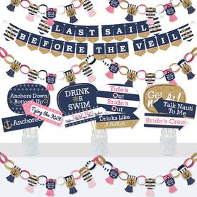 Last Sail Before The Veil - Banner and Photo Booth Decorations - Nautical Bachelorette Party and Bridal Shower Supplies Kit - Doterrific Bundle