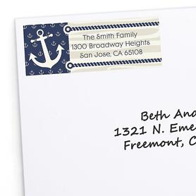 Ahoy - Nautical - Personalized Birthday Party Return Address Labels - 30 ct