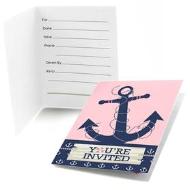 Ahoy - Nautical Girl - Fill in Party Invitations - 8 ct