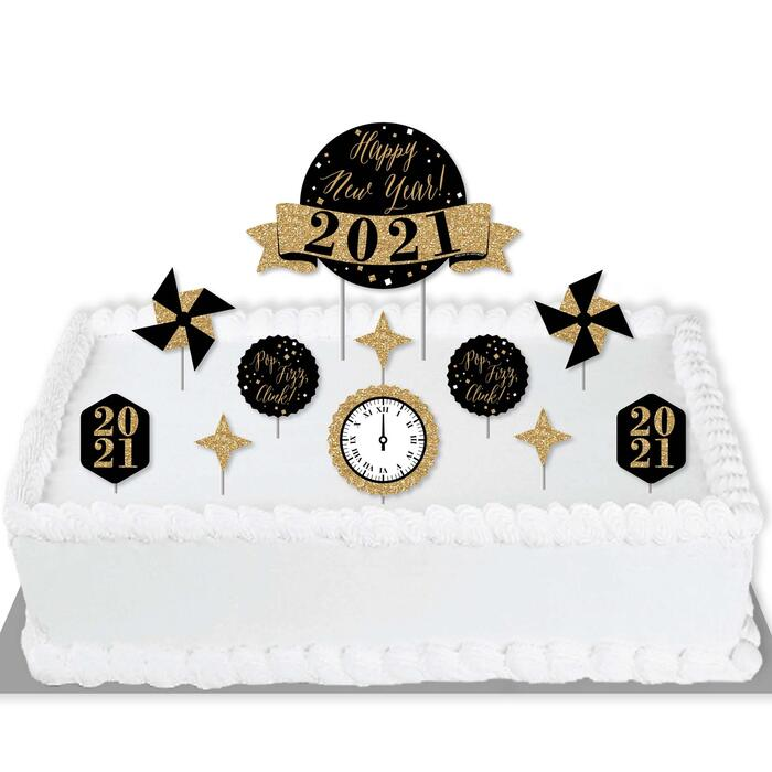 New Year's Eve - Gold - 2021 New Years Eve Party Cake Decorating Kit - Happy New Year Cake Topper Set - 11 Pieces