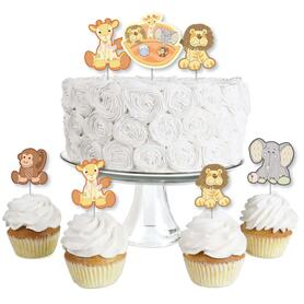 Noah's Ark - Dessert Cupcake Toppers - Baby Shower Clear Treat Picks - Set of 24