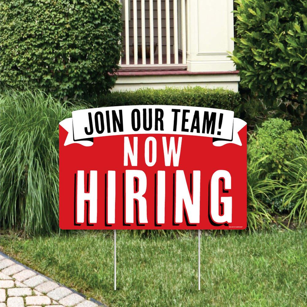 Help Wanted Apply Inside Yellow Business Plastic Yard Sign //FREE Stakes