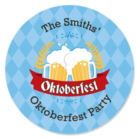 Oktoberfest - Round Personalized German Beer Festival Sticker Labels - 24 ct
