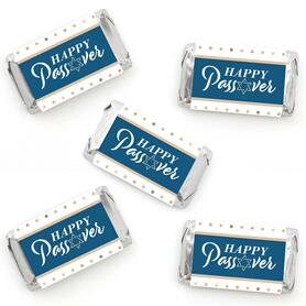Happy Passover - Mini Candy Bar Wrapper Stickers - Pesach Jewish Holiday Party Small Favors - 40 Count