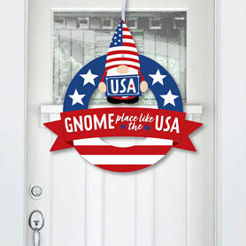 Patriotic Gnomes - Outdoor Memorial Day, 4th of July and Labor Day Gnome Party Decor - Front Door Wreath