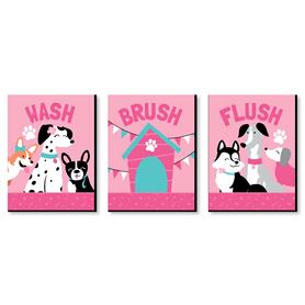 Pawty Like a Puppy Girl - Kids Bathroom Rules Wall Art - 7.5 x 10 inches - Set of 3 Signs - Wash, Brush, Flush