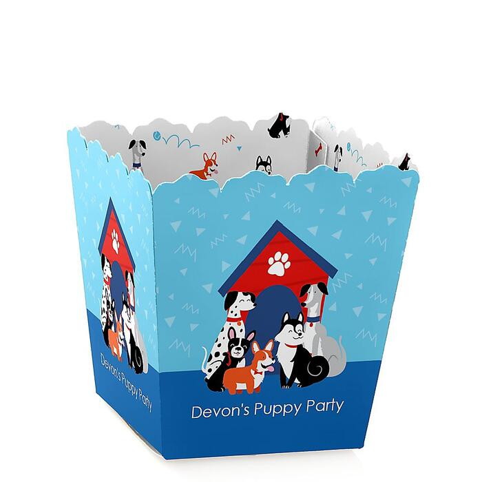 Pawty Like a Puppy - Party Mini Favor Boxes - Personalized Dog Baby Shower or Birthday Party Treat Candy Boxes - Set of 12