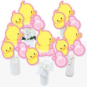 Pink Ducky Duck - Baby Shower or Birthday Party Centerpiece Sticks - Table Toppers - Set of 15