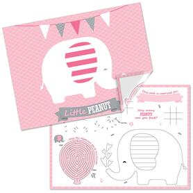Pink Elephant - Paper Girl Birthday Party Coloring Sheets - Activity Placemats - Set of 16