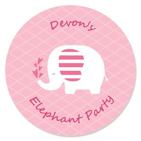 Pink Elephant - Personalized Girl Baby Shower or Birthday Party Circle Sticker Labels - 24 ct