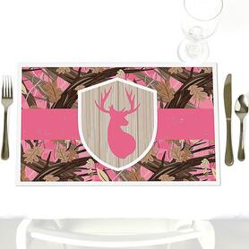 Pink Gone Hunting - Party Table Decorations - Deer Hunting Girl Camo Baby Shower or Birthday Party Placemats - Set of 12