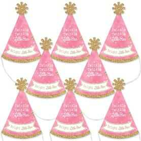 Pink Twinkle Twinkle Little Star - Mini Cone Baby Shower or Birthday Party Hats - Small Little Party Hats - Set of 8