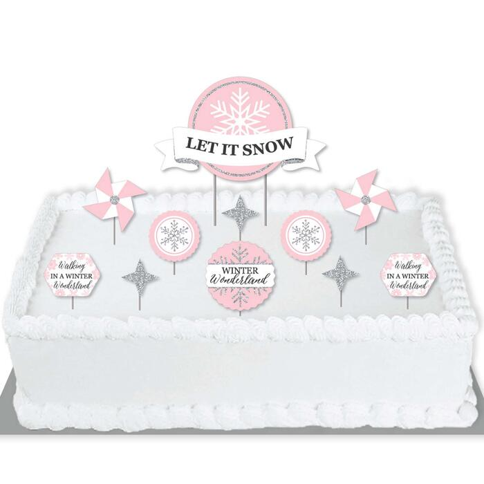 Pink Winter Wonderland - Holiday Snowflake Birthday Party and Baby Shower Cake Decorating Kit - Let It Snow Cake Topper Set - 11 Pieces