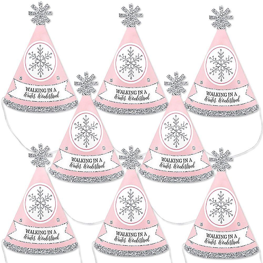 Birthday Party Pink and Gold Snow Snowflake Party Hat Girl Winter Birthday Party Winter Birthday  Birthday Hat