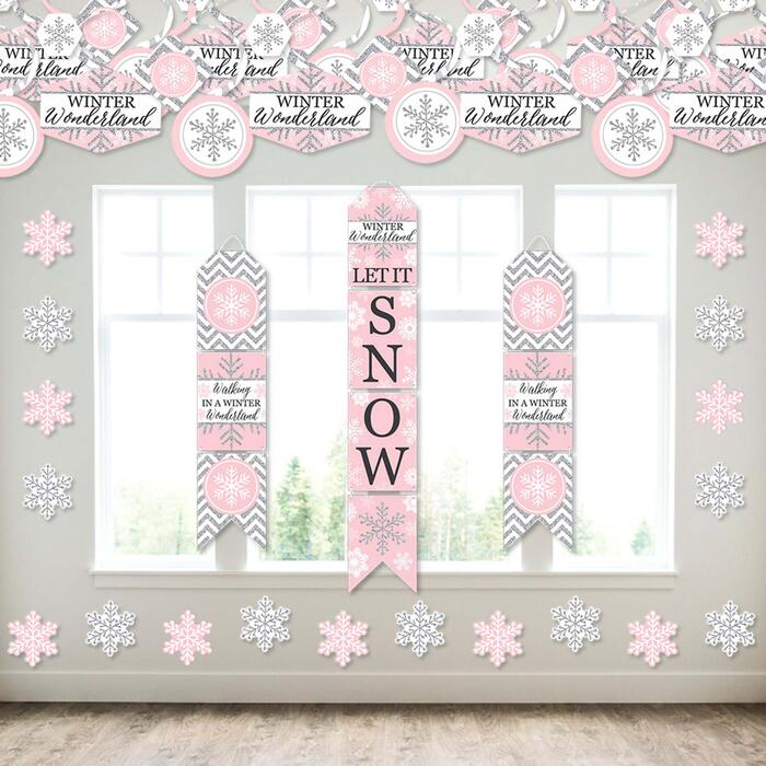 Pink Winter Wonderland - Wall and Door Hanging Decor - Holiday Snowflake Birthday Party and Baby Shower Room Decoration Kit