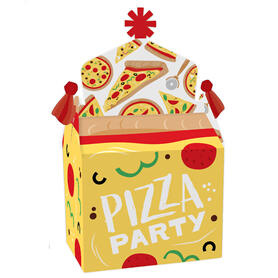 Pizza Party Time - Treat Box Party Favors - Baby Shower or Birthday Party Goodie Gable Boxes - Set of 12