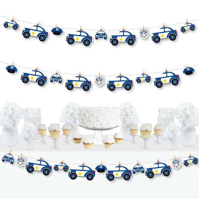 Calling All Units - Police - Cop Birthday Party or Baby Shower DIY Decorations - Clothespin Garland Banner - 44 Pieces