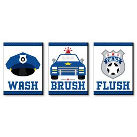 Calling All Units - Police - Cop Kids Bathroom Rules Wall Art - 7.5 x 10 inches - Set of 3 Signs - Wash, Brush, Flush