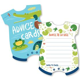 Pond Pals  - Baby Bodysuit Wish Card Frog, Alligator, Turtle, and Duck Baby Shower Activities - Shaped Advice Cards Game - Set of 20