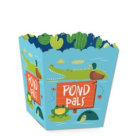 Pond Pals - Party Mini Favor Boxes - Frog, Alligator, Turtle and Duck Birthday Party or Baby Shower Treat Candy Boxes - Set of 12