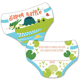 Pond Pals - Diaper Shaped Raffle Ticket Inserts - Frog, Alligator and Turtle Baby Shower Activities - Diaper Raffle Game - Set of 24