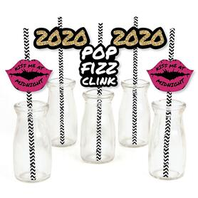 Pop, Fizz, Clink! - Paper Straw Decor - 2020 New Year's Eve Party Striped Decorative Straws - Set of 24