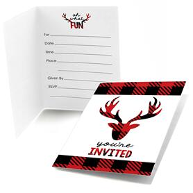 Prancing Plaid - Fill In Christmas & Holiday Buffalo Plaid Party Invitations