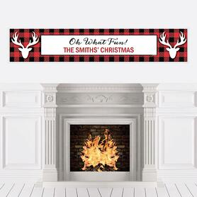 Prancing Plaid - Personalized Christmas & Holiday Buffalo Plaid Party Banner